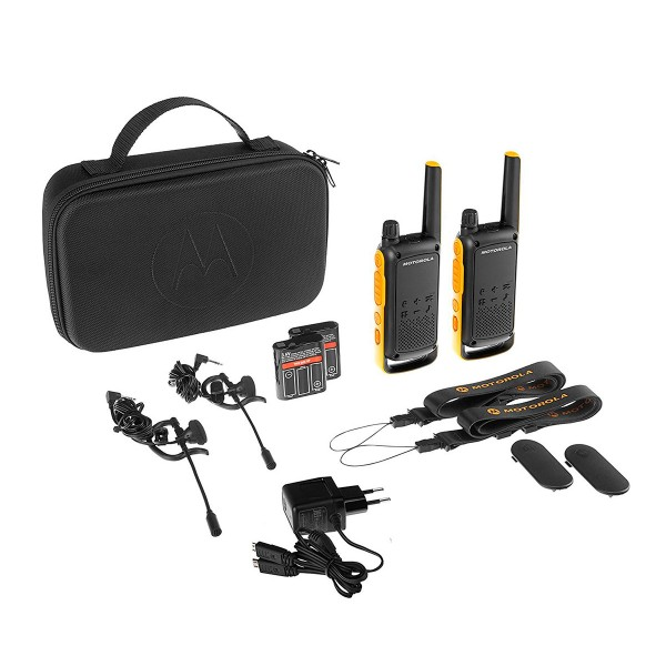 Motorola t82 extreme negro amarillo pareja walkie talkies 10km resistencia ipx4 linterna led 16 canales 121 códigos de privacidad