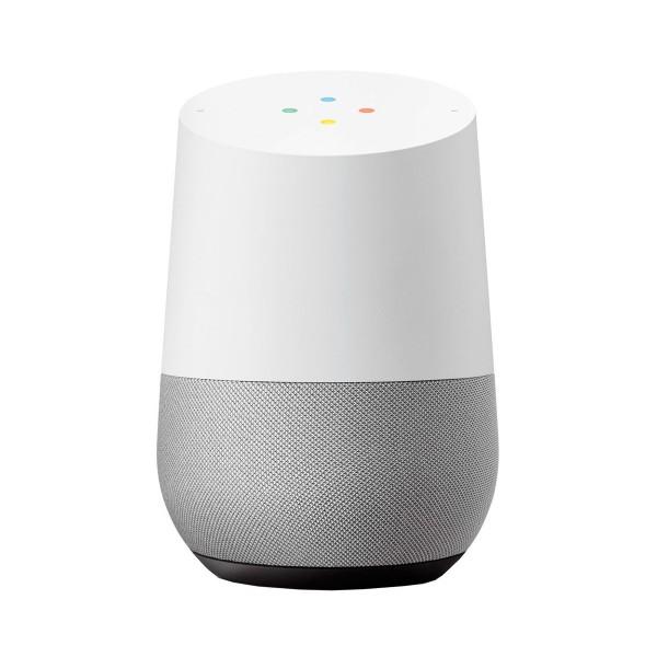 Google google home blanco tela gris pizarra altavoz inteligente con asistente google assistant reconocimiento por voz luces led de estados wifi 5ghz