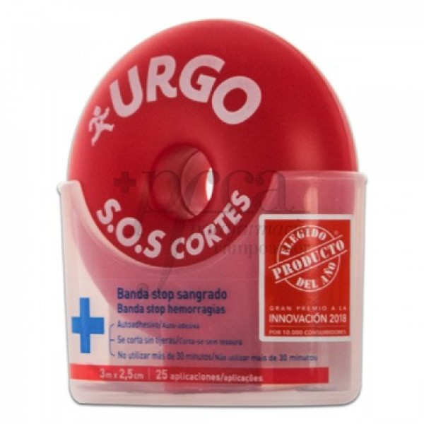 URGO SOS CORTES BANDA STOP SANGRADO 3MX2,5CM