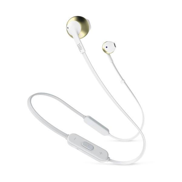 Jbl t205bt blanco cromo auriculares ergonómicos con micrófono integrado control remoto bluetooth
