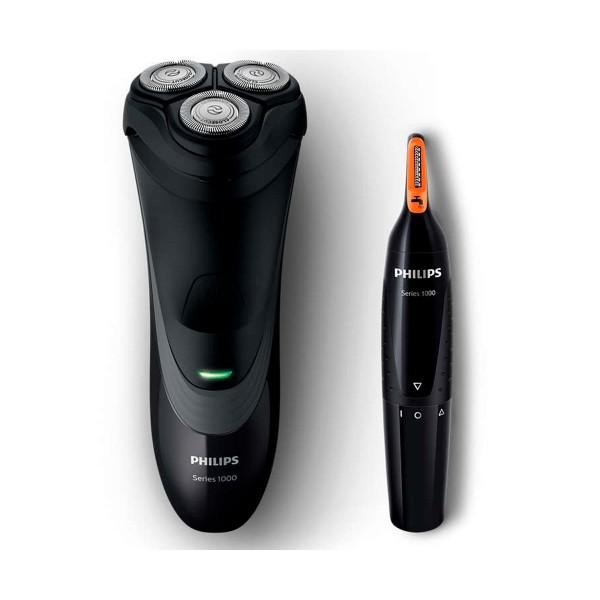 Philips s1520/41 afeitadora eléctrica shaver series 1000 en seco y recortadora de nariz